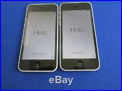 Lot 2 Apple iPhone 5C 16GB Factory Unlocked for GSM Good Condition White Color