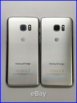 Lot Of 2 Samsung Galaxy S7 Edge G935A Silver AT&T Smartphones As-Is