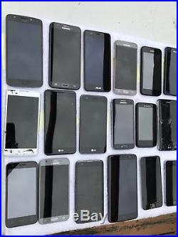 Lot of 23 Cell Phones Samsung iPhone ZTE LG Motorola ASUS Working with cases