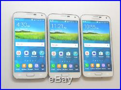 Lot of 3 Samsung Galaxy S5 SM-G900A AT&T 16GB White Smartphones AS-IS GSM