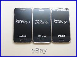 Lot of 3 Samsung Galaxy S5 T-Mobile SM-G900T 16GB Smartphones AS-IS GSM