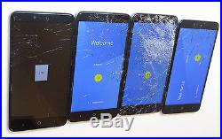 Lot of 4 ZTE ZMax Pro Z981 Metro PCS 32GB Smartphones 3 Power On AS-IS GSM