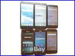Lot of 6 GSM Smartphones Mixed Brands & Models 3 Metro PCS & 2 AT&T AS-IS