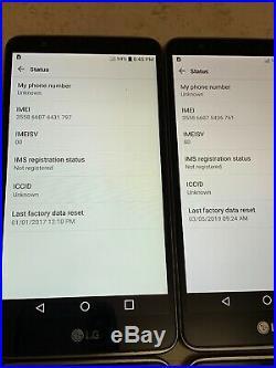 Lot of 8 LG Stylo 2 VS835 Verizon + GSM Unlocked Smartphones A Stock As-Is