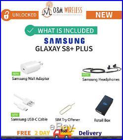 NEW SAMSUNG GALAXY S8+ PLUS Black Gray Silver Blue (SM-G955U1, Factory Unlocked)