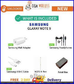 NEW Samsung Galaxy NOTE 9 Black Blue Purple Silver SM-N960U1 Unlocked 128/512GB